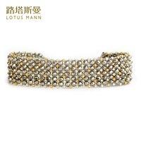 Lotus Mann argent cristal avec double couleur tissé 5 or et argent perles bracelet