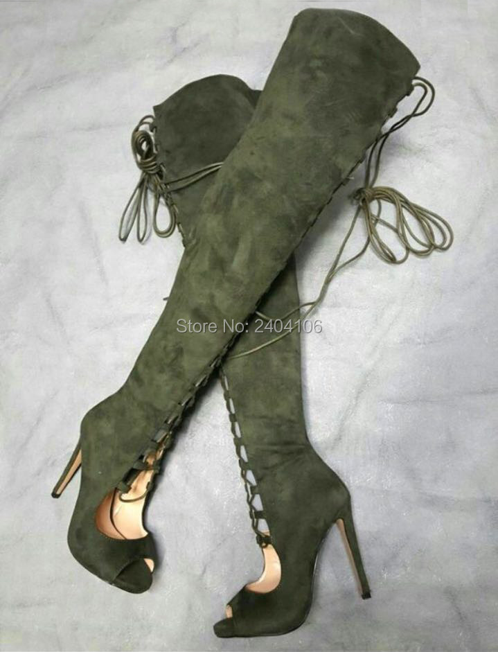 Chaussure Femme 2018 Army Green Black Suede Cut-Outs Long Booties Over The Knee Peep Toe Lace Up Stiletto Heels Thigh High Boots