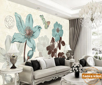 Custom vintage floral wallpaper mural hand painting blue sun flower lily butterfly sofa bedroom living room cafe bar restaurant