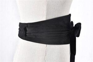 Image 3 - Корейский модный замшевый женский поясной ремень из плюшевой ткани 12,5 см Широкий самозавязывающийся ремень для юбки рубашки платья Женские однотонные ремни для корсета