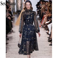 SexeMara Newest 2018 High Quality Luxury Runway Designer Party Dress Women Spring And Autumn Mesh Embroidery Sexy Long Dresses