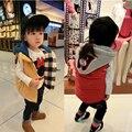 Hot-selling 2017 crianças inverno espessamento com a wadded jaqueta com capuz colete para meninos e meninas do bebê colete colete