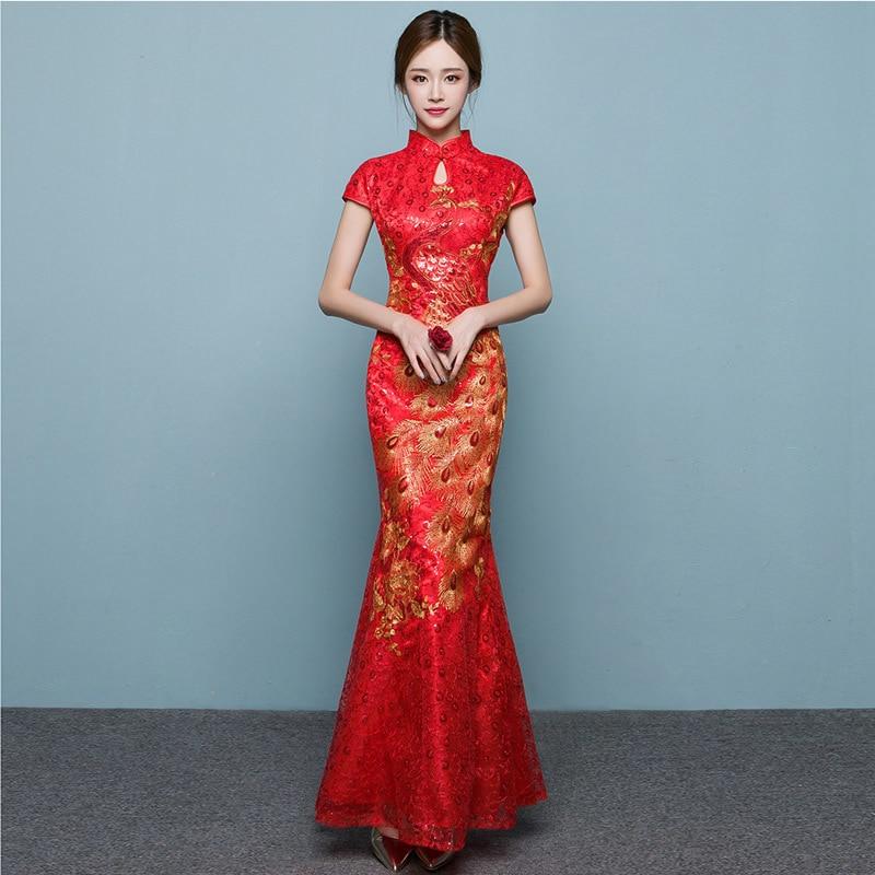 bcb78e9fb Red Phoenix Fish Tail Luxury Cheongsam Traditional Chinese Woman Dress  Qipao Robe Oriental Evening Dress Vintage Qi Pao QL