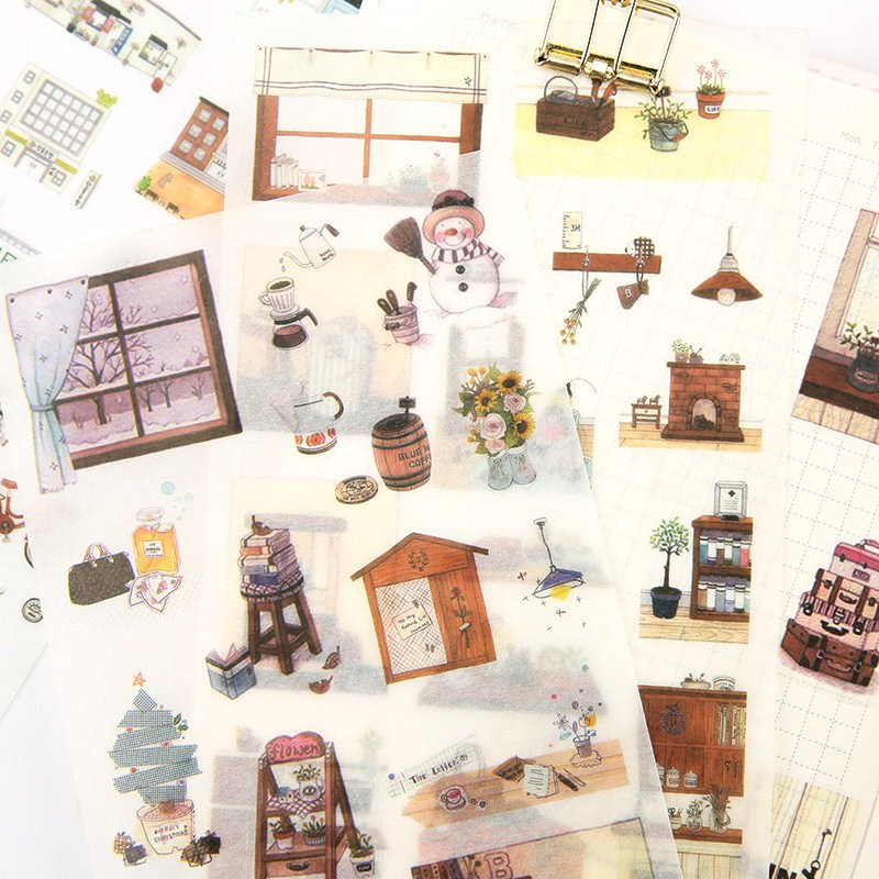 6 Sheets/pack Snow Man DIY Decorative Stickers Scrapbooking Diary Album Decor Stick Label