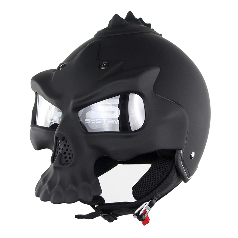 NEW Motorcycle Retro Skull Helmet Double Lens Motorbike Half Face Helmet Capacete De Moto racing helmets amz motorcycle helmet japanese super magnum small jet helmets jocket half harley cruise capacete helmet