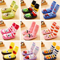 Del invierno del bebé de la muchacha niños calcetines antideslizantes calcetines recién nacidos Cartoon zapatillas botas de cuero suave con suela de calcetines de interior