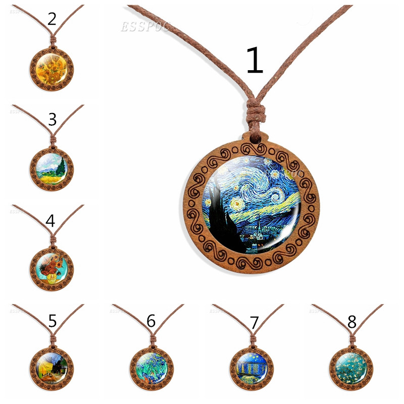 Rope Chain Jewelry Van Gogh Art Wooden Necklace, Retro Iris Pendant, Fleur-de-lis