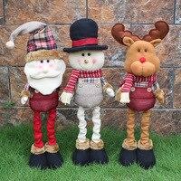 1PC High Handmade Wool Plush Telescopic Santa Claus Snowman Elk Deer Doll Christmas Decoration Favor Gift Xmas Ornaments 51x12.5