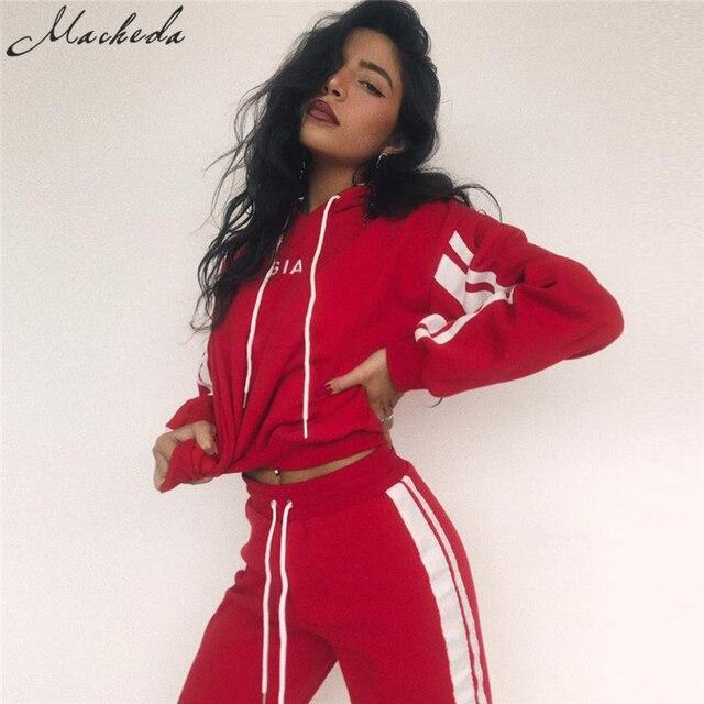 2 Piece Set Women Tracksuit Sportswear Casual White Red Sweat Pants Hooded Cropped Sweatshirt Hoodie 4