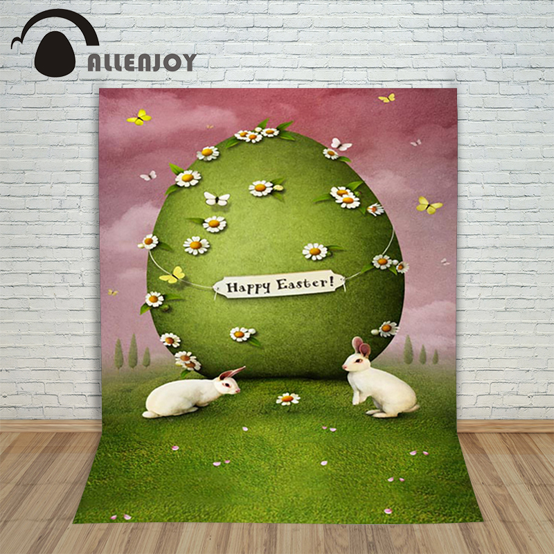 Allenjoy Easter backdrop Happpy eggs Cartoon butterfly rabbit green egg grass photography backgrounds for