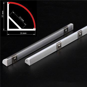 2-30 unids/lote 0,5 m/unids perfil de aluminio angular de 45 grados para 5050 3528 5630 tiras de LED blanco lechoso/canal de tira de cubierta transparente