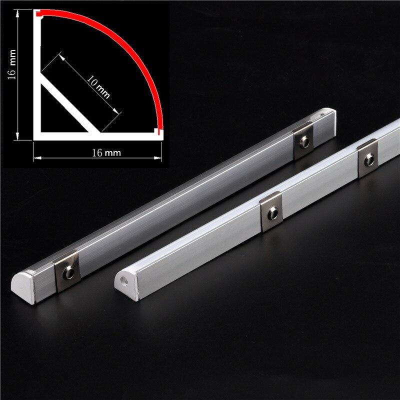 Profil en aluminium à angle de 45 degrés, pour 0.5 5050 3528 blanc laiteux/transparent canal de couverture 2-30 pcs/lot 5630 m/pièce