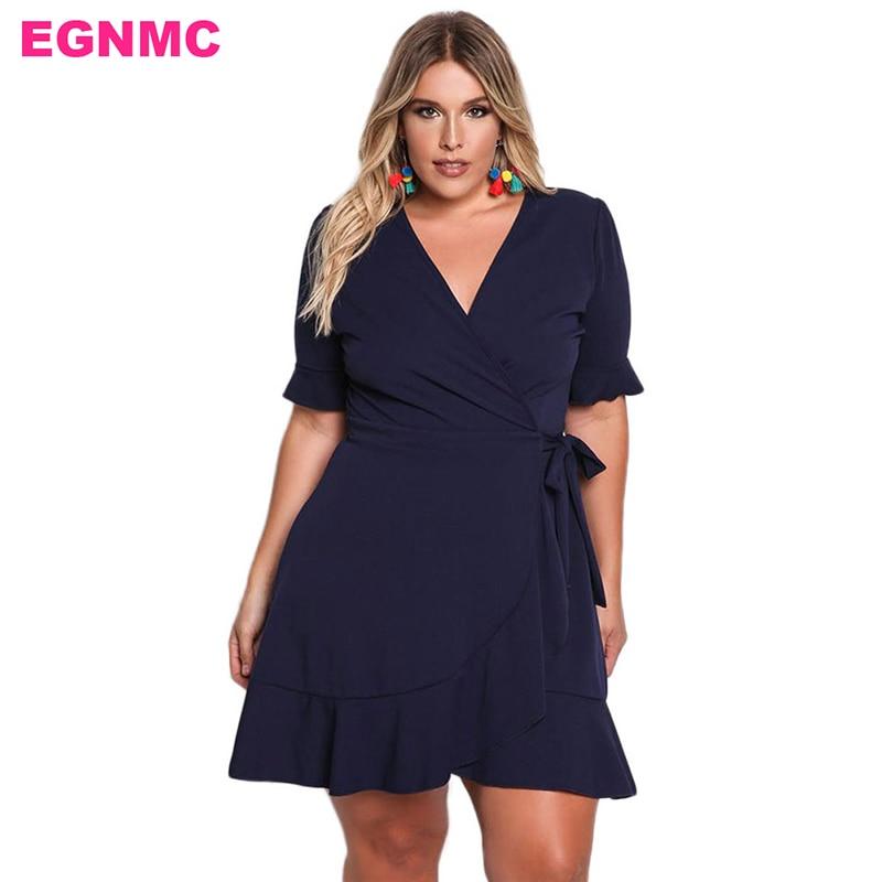 EGNMC Plus Size Mature Women Dress Elegant butterfly sleeve sleeve V ...