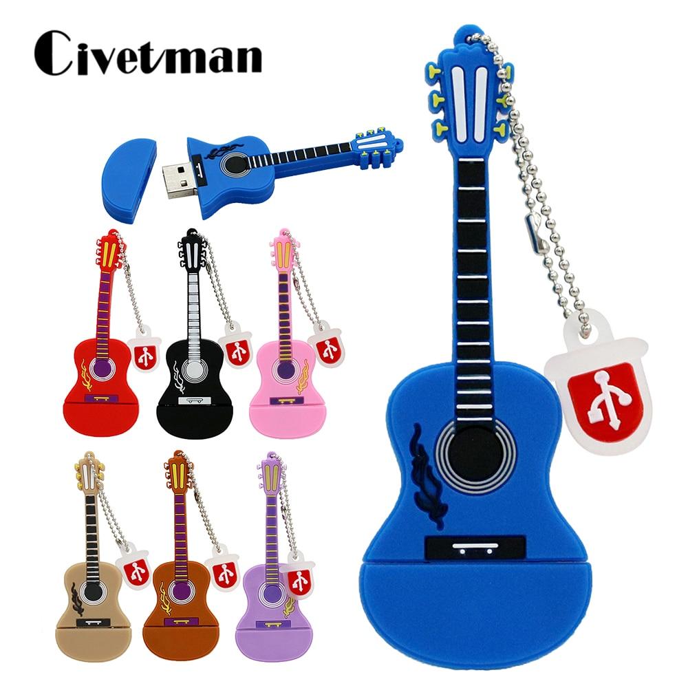 Мультфильм Pendrive 128 ГБ USB Stick гитара Музыкальные инструменты гитара модель Pendrive 4 ГБ 8 ГБ 16 ГБ 32 ГБ 64 ГБ USB флэш-накопитель 6 цветов