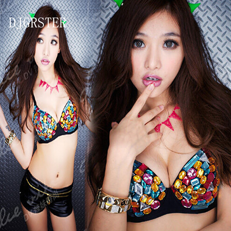 9a6dfb2461 DJGRSTER Hot Sale ! 2017 New Women Sexy Party Disco Bead Rhinestone  Embellished Bra Sexy Belly Dance Rivets Bra-in Bras from Women s Clothing    ...