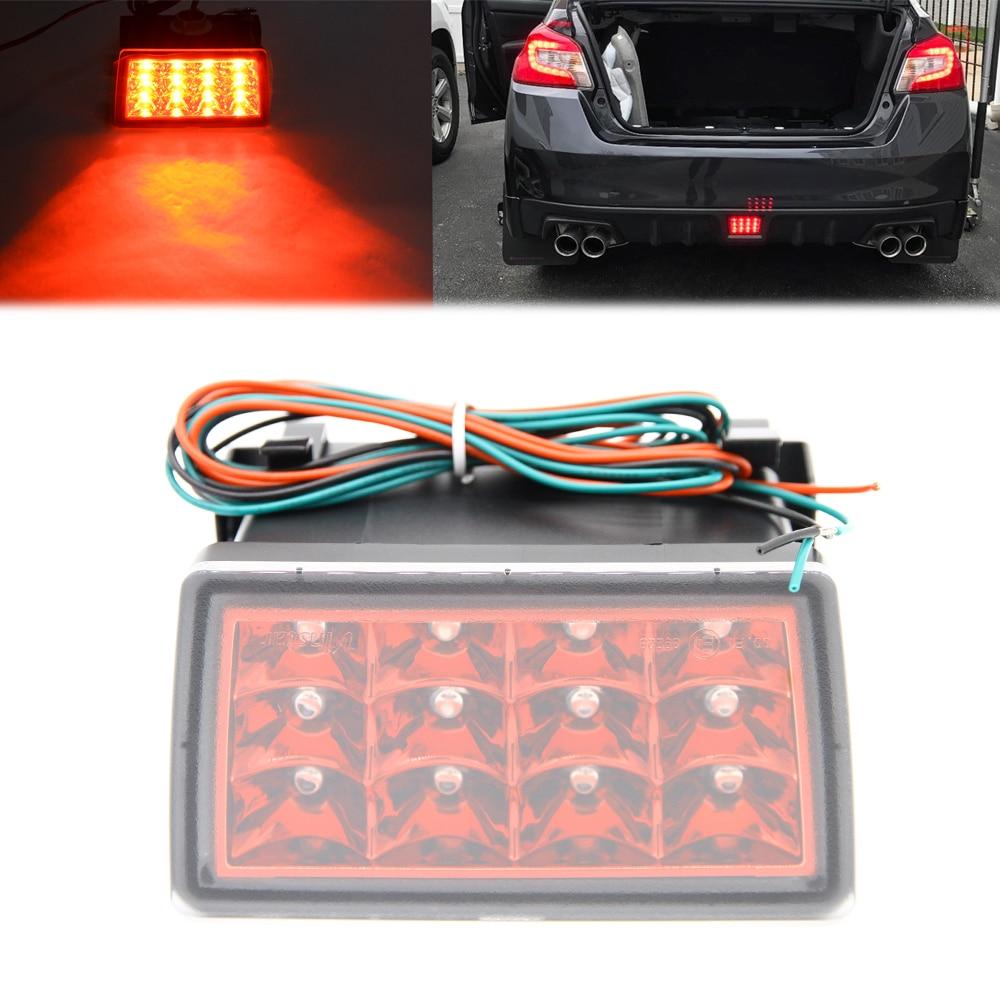 Red Lens Strobe F1 Style LED Rear Fog Light 4th Tail Lamp Kit For Subaru WRX STi LED Brake/Tail Lamp