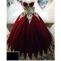 Vermelho/Borgonha Vestidos Quinceanera vestido de Baile Querida Ouro Applique Até O Chão Prom Vestidos Custom Made vestidos de 15 años