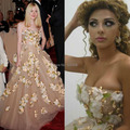Oscar Red Carpet Strapless 3D Flowers/Leaf Backless Beautiful Myriam Fares Dress
