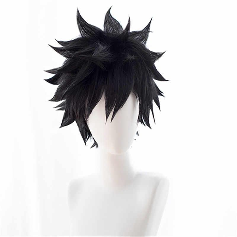 My Hero Academia Dabi Cosplay peruk Boku hiçbir kahraman Academia kısa siyah sentetik saç kostüm cadılar bayramı partisi peruk