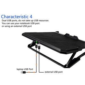 Image 5 - Podkładka chłodząca do laptopa chłodzenie laptopa sześć wentylatorów i 2 porty Usb podkładka chłodząca do laptopa stojak na notebooka do 13 16 Cal do laptopa