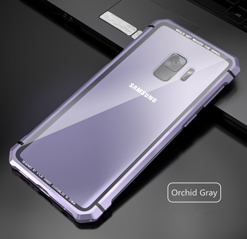 Samsung S9 Plus Shockproof case clear tempered glass back cover  diamond metal bumper (14)