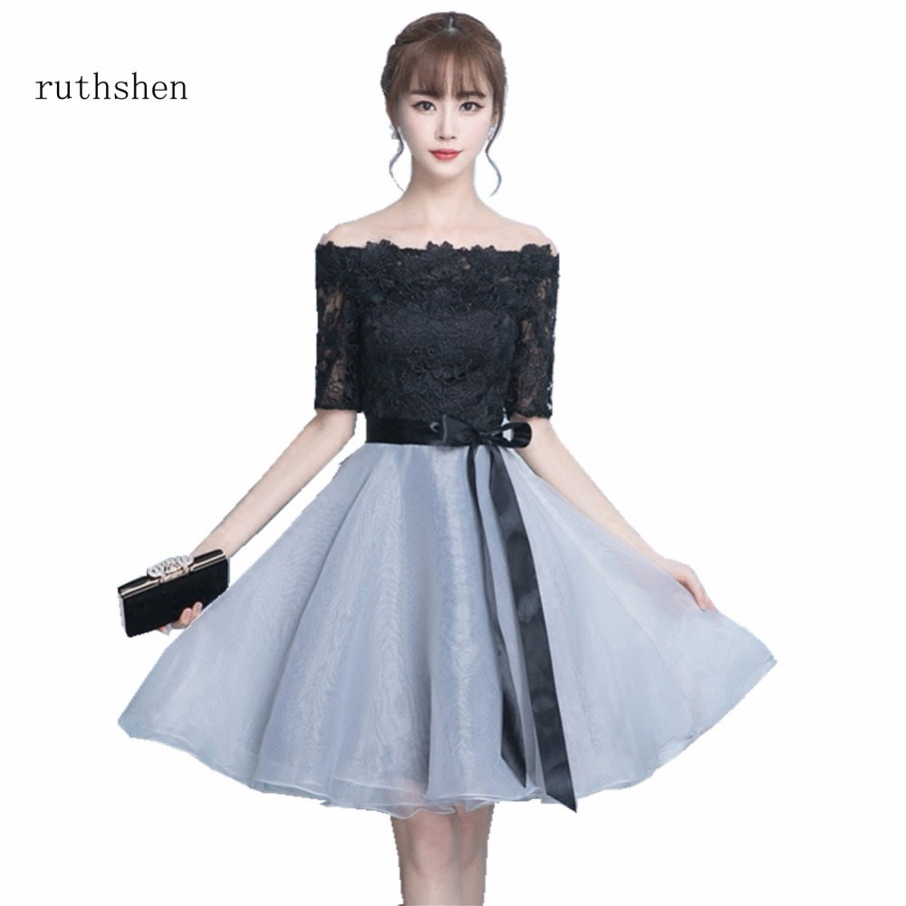 Ruthshen New Arrivals Cocktail Dresses Women's Fashion Lace Top Boat Neck A Line White/black/red Party Prom Dresses New Arrival