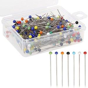 Alfileres de cabeza de vidrio perlada de 34mm, 250 Uds., alfileres de costura Multicolor para manualidades de costura, hágalo usted mismo, suministros para acolchar