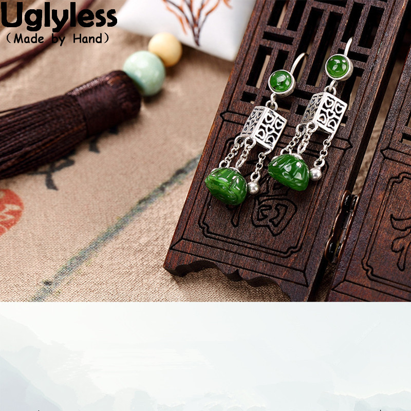 цена на Uglyless S S925 Sterling Silver Natural Jade Lotus Earrings Vintage Women Luxury Jasper Brincos Hollow Triangle Jewelry Tassels