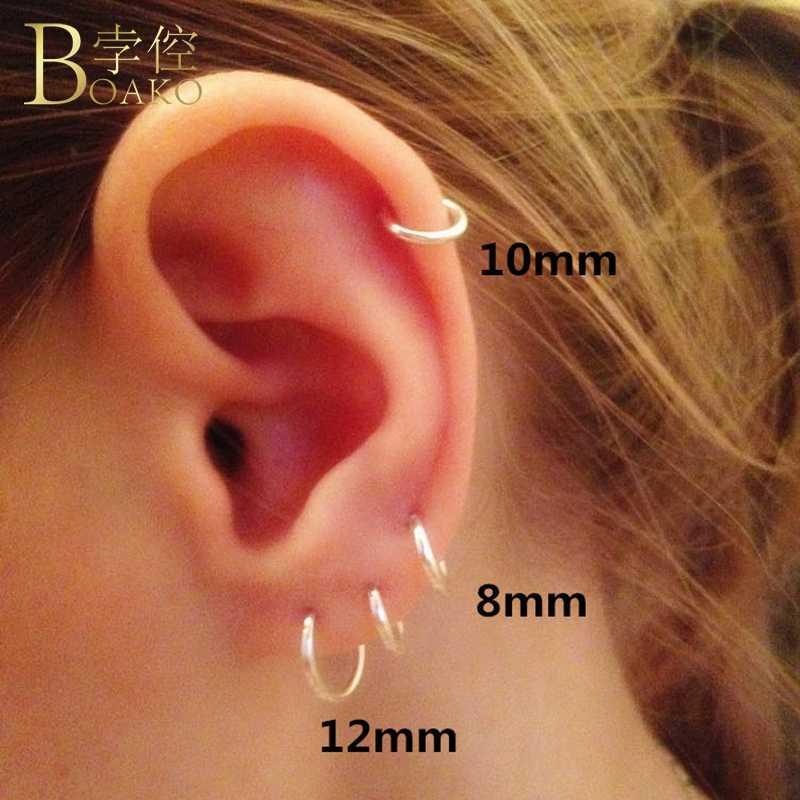 BOAKO 925 เงินสเตอร์ลิงต่างหูผู้หญิง/ผู้ชายขนาดเล็ก Hoop ต่างหูหู aros gold Tiny ต่างหู mujer aretes หู Z5