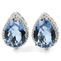 18x13mm Drop London Blue Topaz, White Cz SheCrown Created Woman's Wedding  Silver Stud Earrings 22x16mm