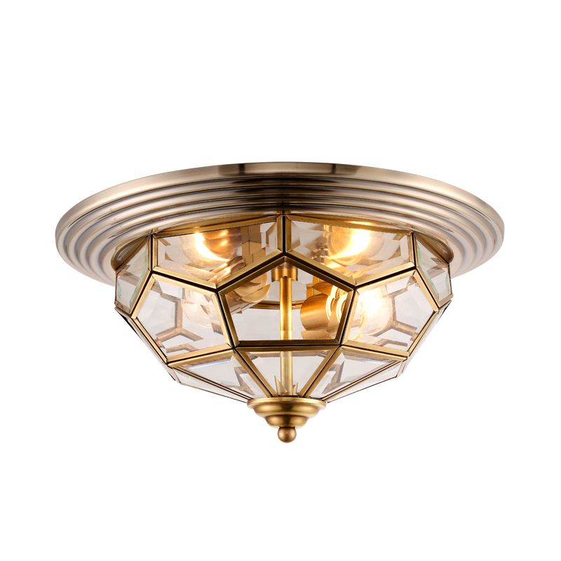 Living room copper ceiling light simple bedroom light round restaurant room ceiling lamp ceiling light living room is dome light round american idyllic corridor scandinavian simple balcony antique bedroom lamp 1852