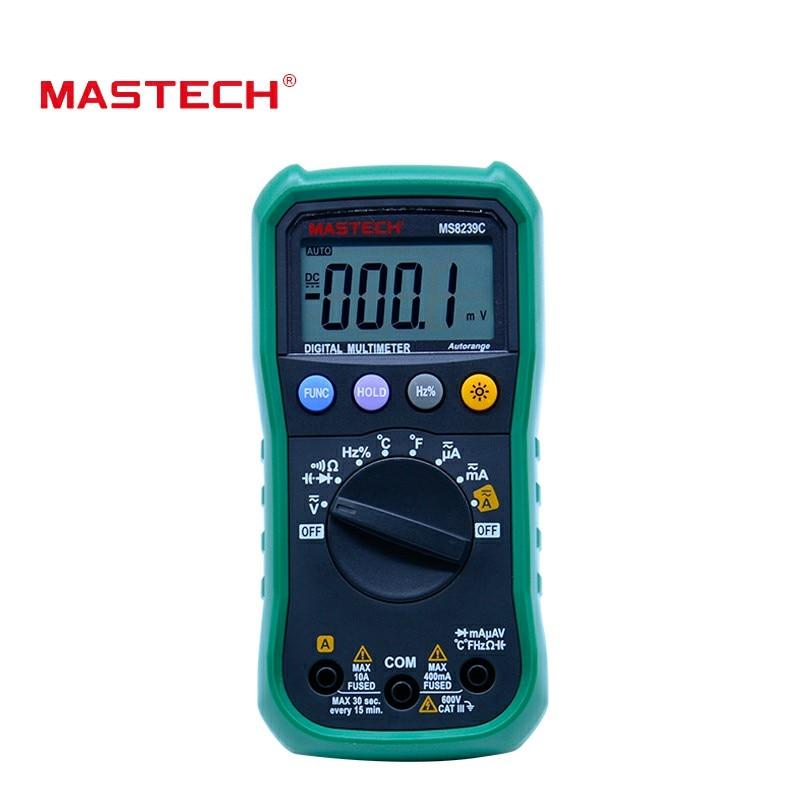 MASTECH MS8239C Digital Multimeter AC DC Voltage AC Current Capacitance Frequency Temperature Tester Auto range multimetro 3 3/4 mastech ms8239c voltage current resistance continuity multimeter