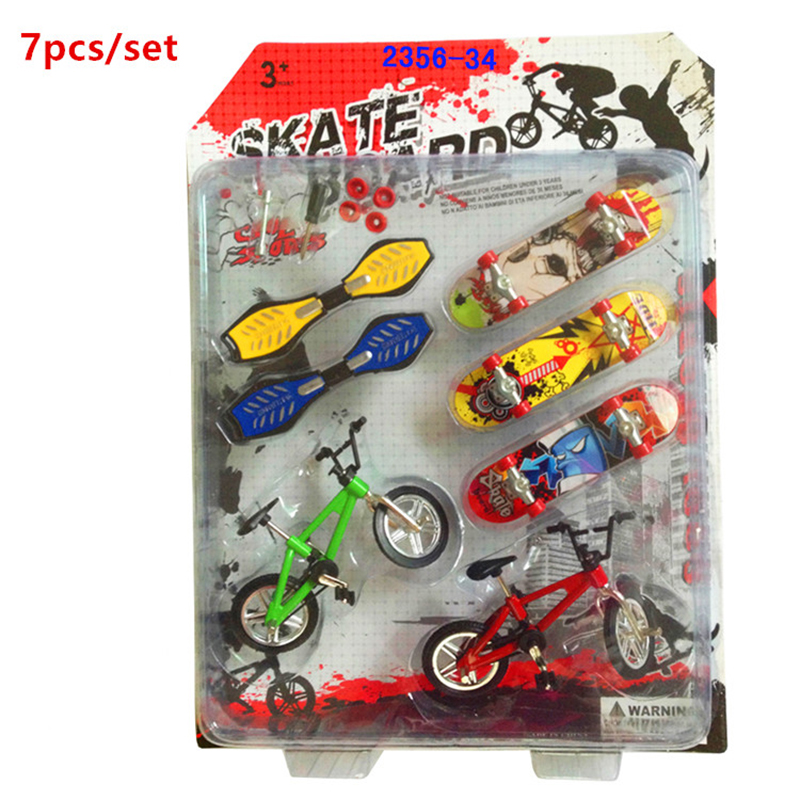 7pcs / set Finger skateboard Finger Dynamic paneli Funkcionalni otroci Kolo Finger Bike mini prst Set Bike Fans Igrače za dečka