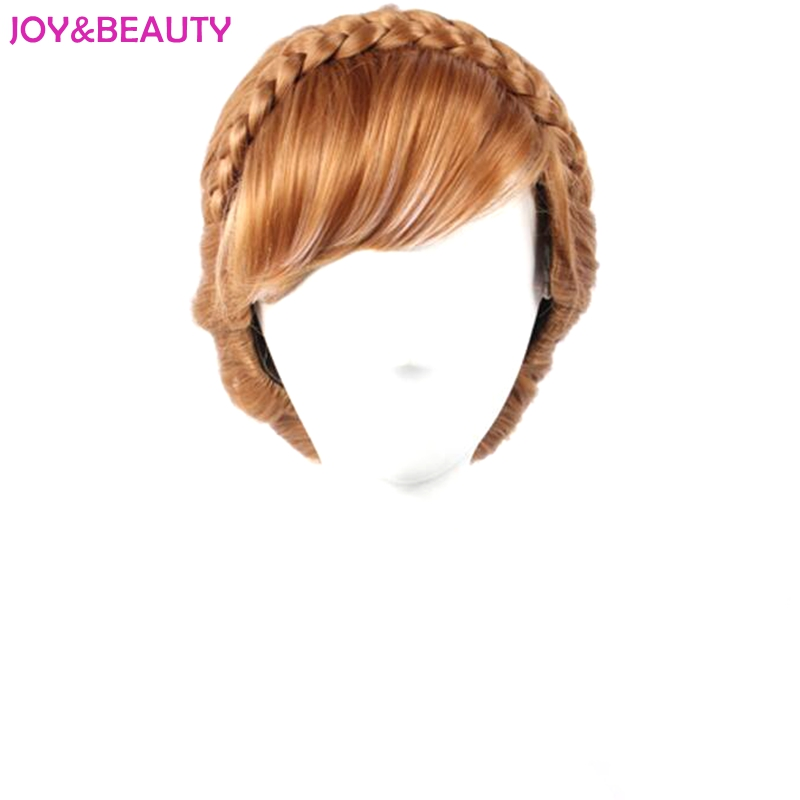 JOY & BEAUTY Коричневий і білий змішані синтетичні волосся Анна перуку дітей косплей перуку 12inch довго безкоштовна доставка