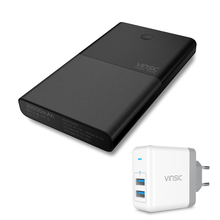 Vinsic 30000mAh Power Bank Dual USB DC Output  Max 4.5A 19V External Portable 18650 Battery Charger for Laptop Notebook Phone