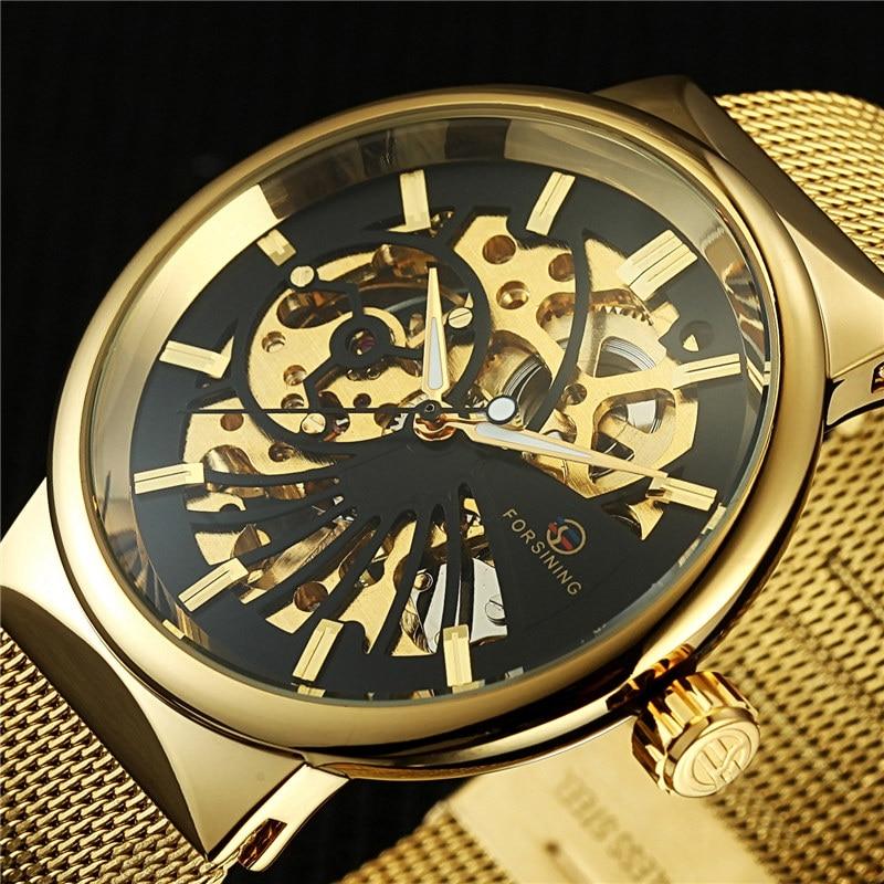 2017 Thin Mesh Band Design Golden Man Watch Waterproof Mens Watches Top Brand Luxury Casual Mechanical Skeleton Wrist Watch white ceramics band design mens leisure watch