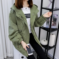 Spring Autumn Women Casual Loose Long Sleeve Trench Coat Fashion Solid Adjustable Waist Zipper Hooded Collar
