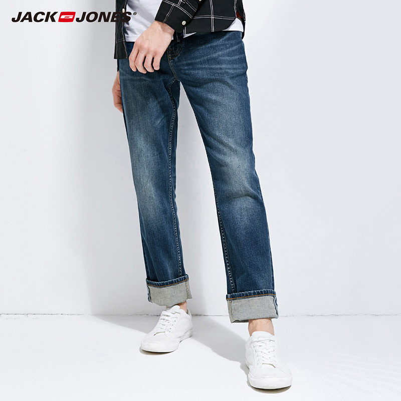 JackJones 2018 Marke Neue männer Lycra & Baumwolle Oversize Lose Fit Stretch Jeans Hosen Denim Hose männer Biker mode 218132571