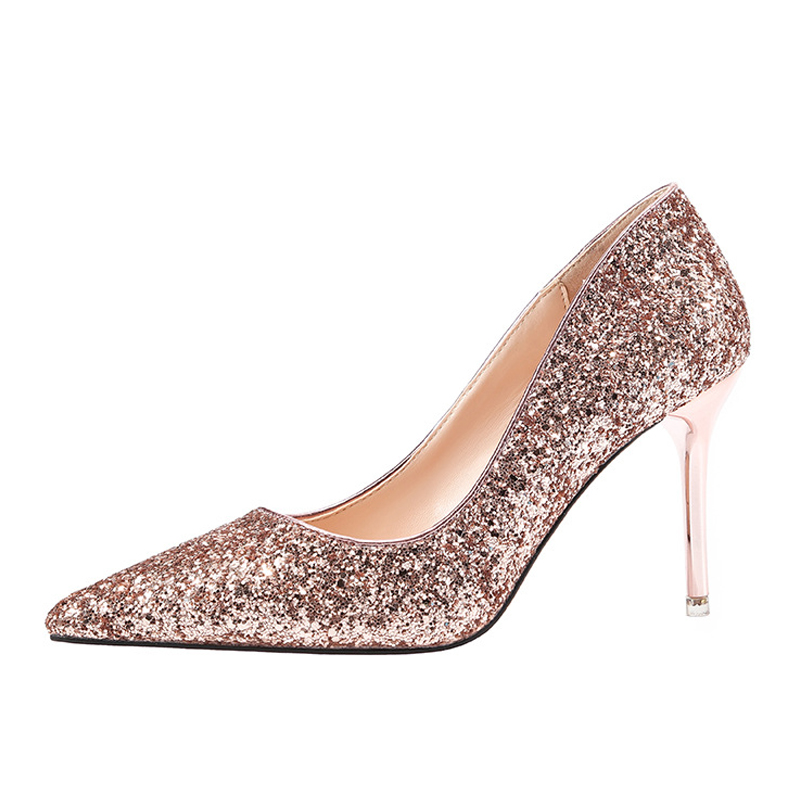 Women shoes high heels female sexy heels red pumps pointed sequins wedding bridesmaid dresses trend ladies shoes leather shoes