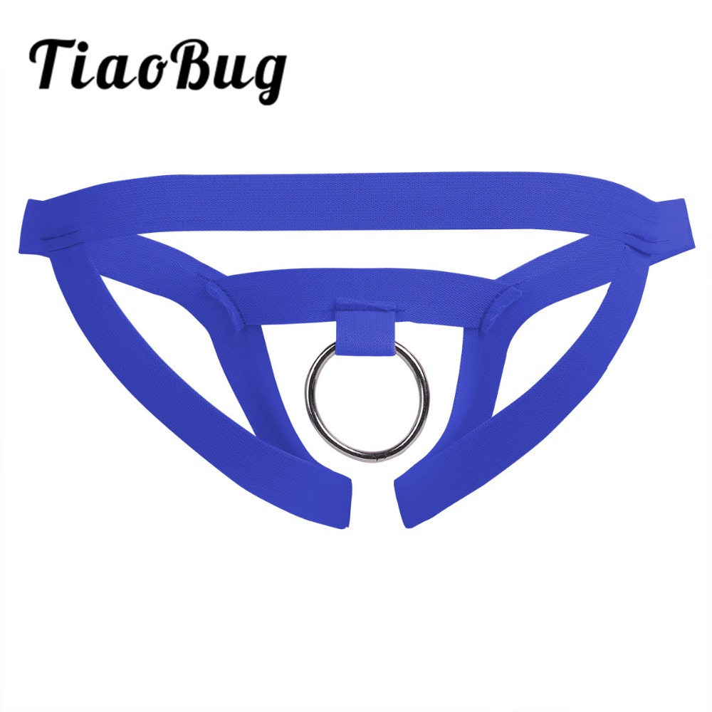 TiaoBug Mens Sexy Lingerie Low Rise Crotchless Jockstrap Open Back Bikini G-string Thong Briefs Underwear With O-Ring Underpants
