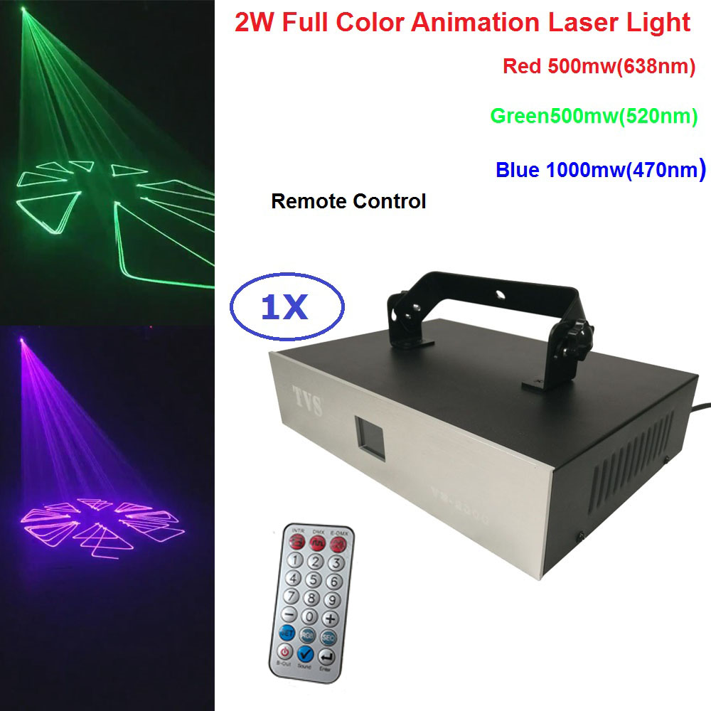Envío gratis 2 W Color de luz láser de animación de 2000 MW RGB 3IN1 LED haz de luces Control remoto para fiesta DJ iluminación de la barra muestra