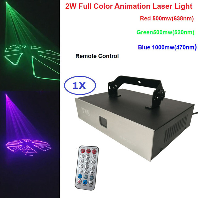 Free Shipping 2W Full Color Animation Laser Light 2000MW RGB 3IN1 LED Beam Lights Remote Control For Party DJ Bar Lighting Shows