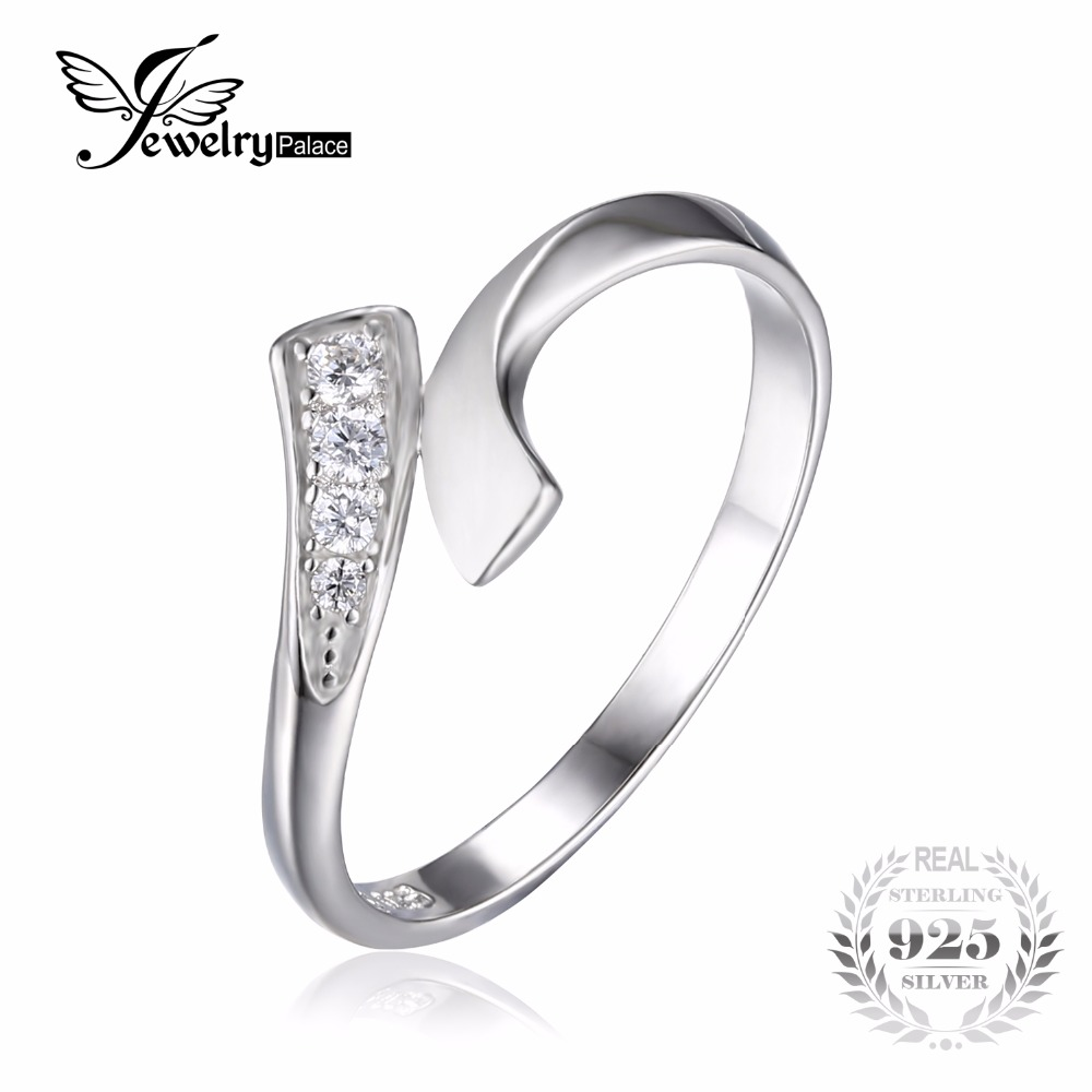 jewelrypalace double row wrap round cubic zirconia wedding promise ring for women pure 925 sterling silver jewelry simple ring - Wedding Ring Wraps