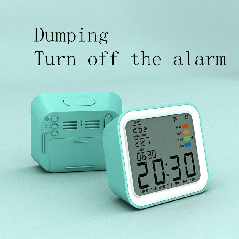 LCD electronic desktop alarm clock with thermometer Desktop digital calendar clock children's mini snooze alarm clock