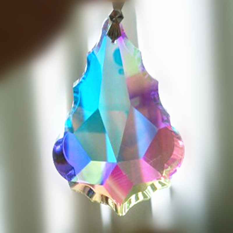 10pcs/LOT 38MM AB Color Crystal Maple Leaf Shape Glass Drop Prism  French Style Crystal Chandelier Hanging Pendant
