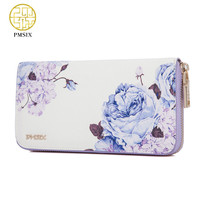 Pmsix 2017 New Flower Print Chinese Wind Cattle Split Leather Wallet Purse Zip Large Capacity Long