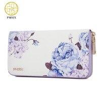 Pmsix 2019 New Flower Print Chinese Wind Cattle Split Leather Wallet Purse Zip Large Capacity Long Ladies Vintage Clutch Wallet