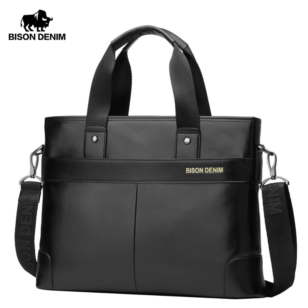 Bison Denim 100% Genuine piele de piele de vacă 14 '' Laptop Servietă Bărbați Messenger Bag Bărbați Crossbody Pungi de umăr Servieta N2195-1