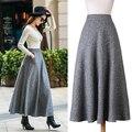 Winter Women Skirts Saia Longa High Waist Midi Wool Maxi Long Faldas Pleated Plus Size XXL Female Saia MF965874