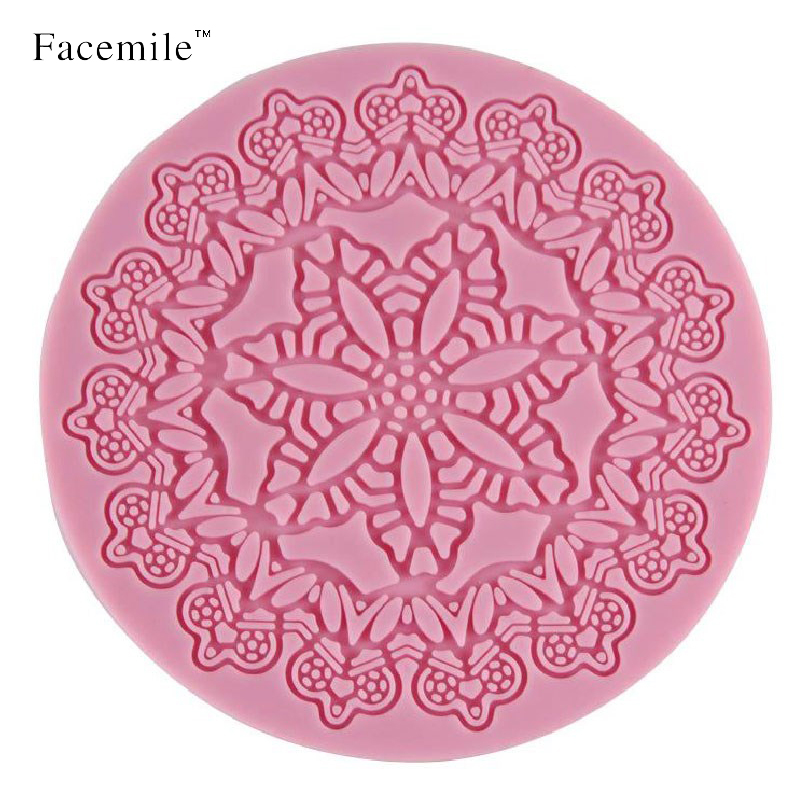 Facemile Molding Paste Silicone Molds 12cm Round Floral Embellishments for Fondant Cake Decorating Baking Tools Gift